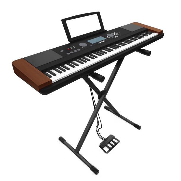 Synthesizer Electronic Piano Isolated Synthesizer Electronic Piano isolated on white background. 3D render electronic music stock pictures, royalty-free photos & images