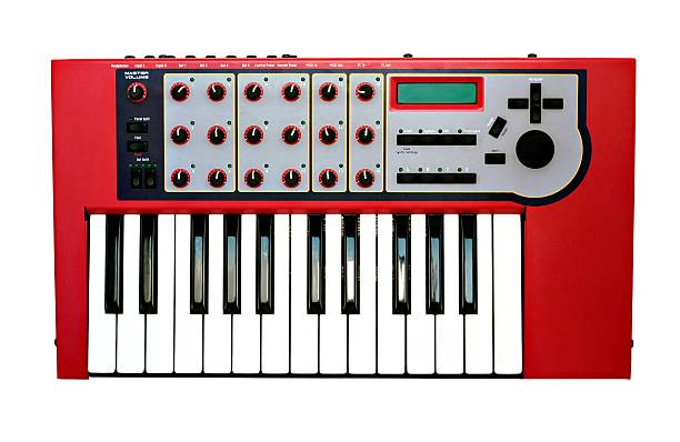 Synthesizer Music synthesizer keyboard isolated on white background synthesizer stock pictures, royalty-free photos & images