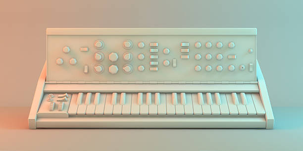 sintetizador - desenhos de notas musicais - fotografias e filmes do acervo