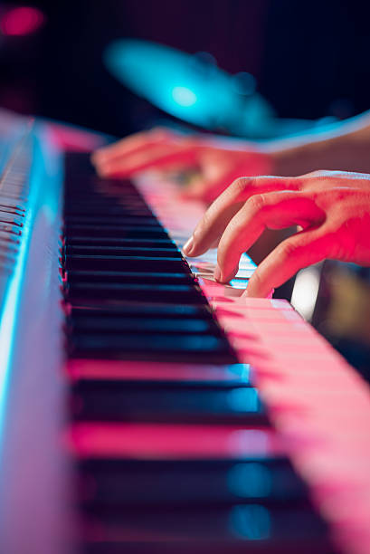 Synthesizer A close-up of playing synthesizer keyboard player stock pictures, royalty-free photos & images