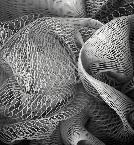 Synthetic fibres - close-up, textured background stock photo