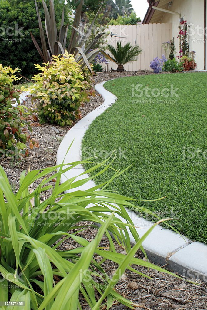 Synthetic Lawn Side Strip stock photo