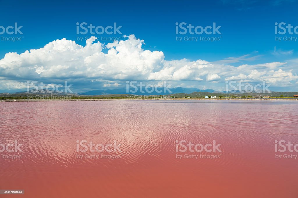 Synthetic Pink water salt lake in Dominican Republic stock photo