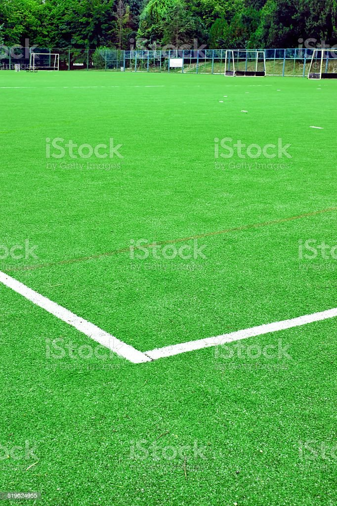 Synthetic Soccer or Footbal Field stock photo