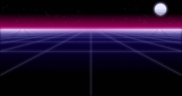 synthwave net and moon retro background 3d render - vaporwave foto e immagini stock