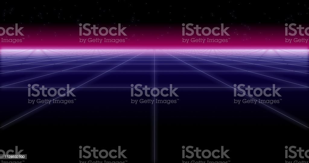 Synthwave Net And Stars Retro Background 3d Render Stock Photo - Download  Image Now