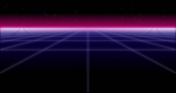 synthwave net and stars retro background 3d render - vaporwave foto e immagini stock