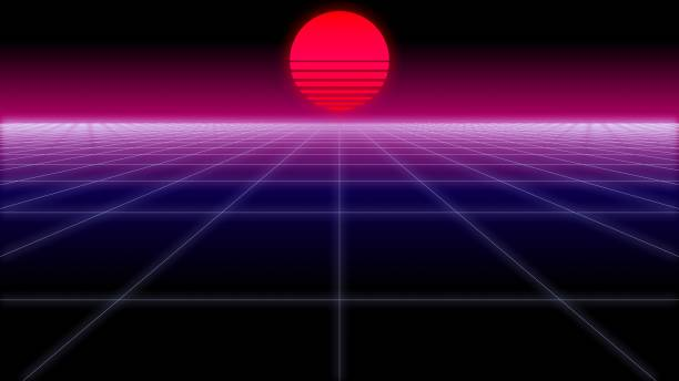 synthwave net and sun retro background 3d render - vaporwave foto e immagini stock