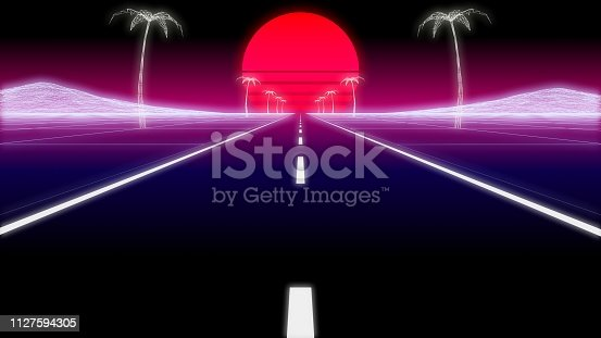 1060869186istockphoto synthwave palms road 80 Retro Background 3d render 1127594305
