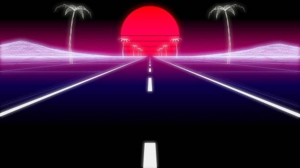 synthwave palms road 80 retro background 3d render - vaporwave foto e immagini stock