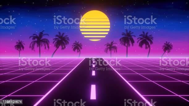 Photo of Synthwave retro background