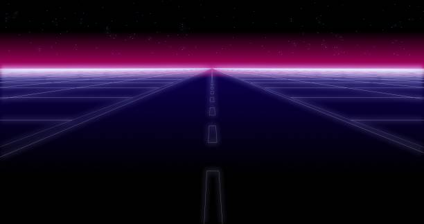 synthwave road and stars retro background 3d render - vaporwave foto e immagini stock