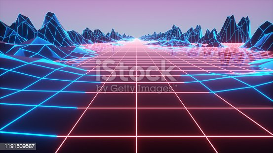 927062500 istock photo Synthwave wireframe net 80s Retro Futurism Background 3d illustration 1191509567
