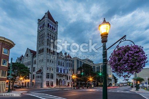 Syracuse City Hall at dusk