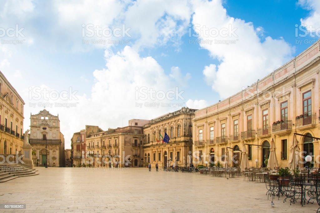 Syracuse Ortigia Piazza Duomo stock photo