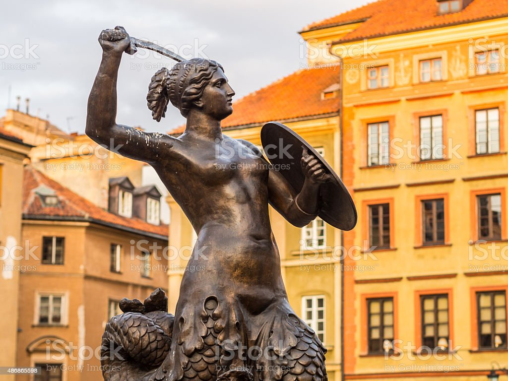 Syrenka (mermaid) sculpture on Warsaw's Old Town Market Place stock photo