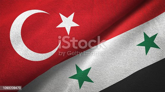 Syria and Turkey flag together realtions textile cloth fabric texture
