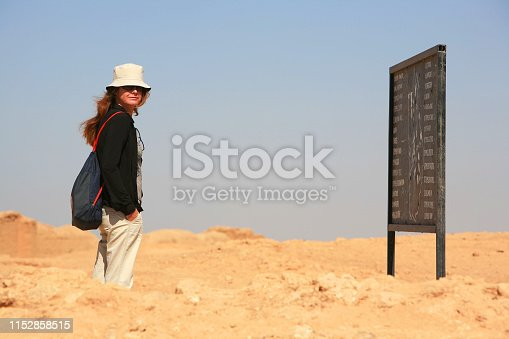 695022520 istock photo Syria before the war. Foreign woman visiting he archeological remains of the ancient Hellenistic and Roman border city of Dura Europos on the banks of river Euphrates, near Deir ez-Zor, in eastern Syria. 1152858515