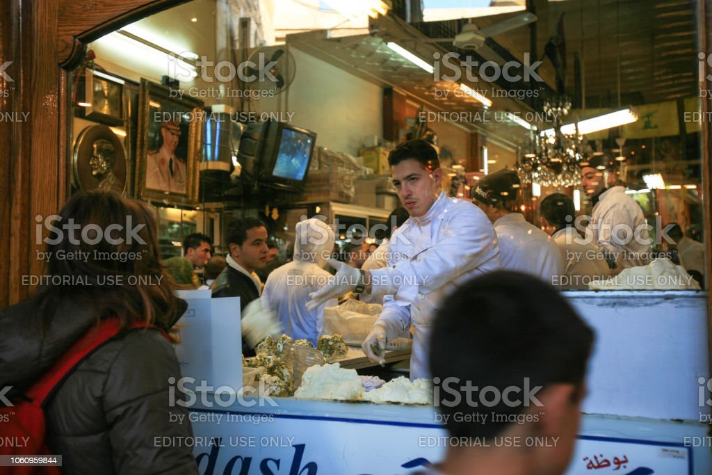 Syria Before The War Sweets Shop In The World Famous Alhamidiyah Souq Or  Central Bazar Of Damascus Stock Photo & More Pictures of 21st Century