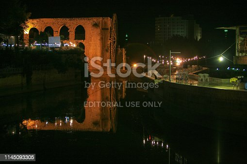 695022520 istock photo Syria before the war. The wooden giant water wheels of Hama by night. 1145093305