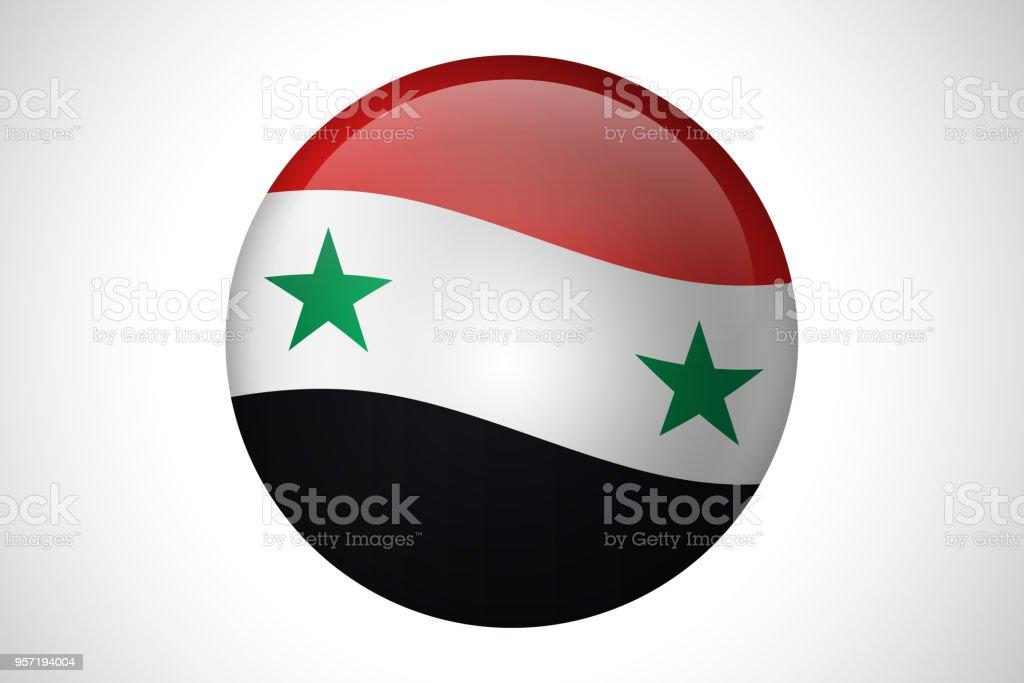 Bandeira de país Síria para web design de botton - foto de acervo