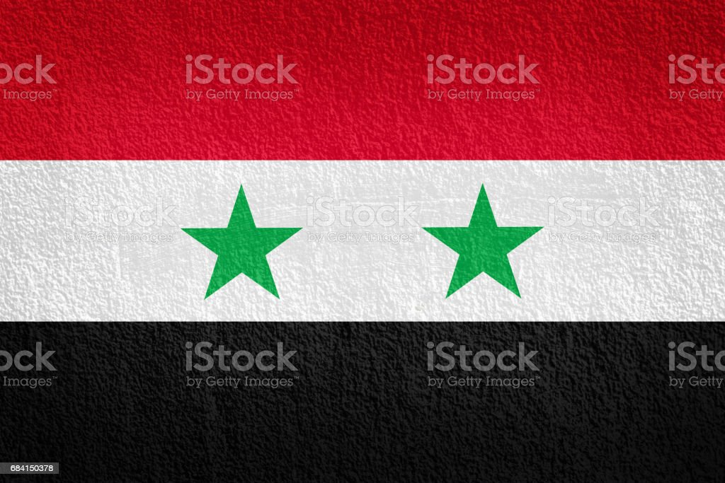 syria Flag on the wall texture foto stock royalty-free