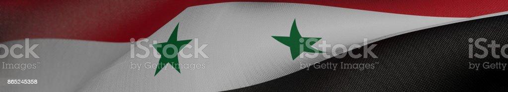 Bandera de Siria, Siria bandera panorámica realista Ilustración 3D - foto de stock