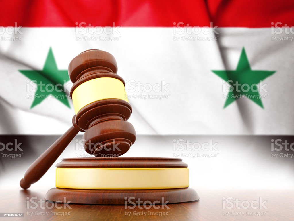 Syria flag with Gavel stock photo