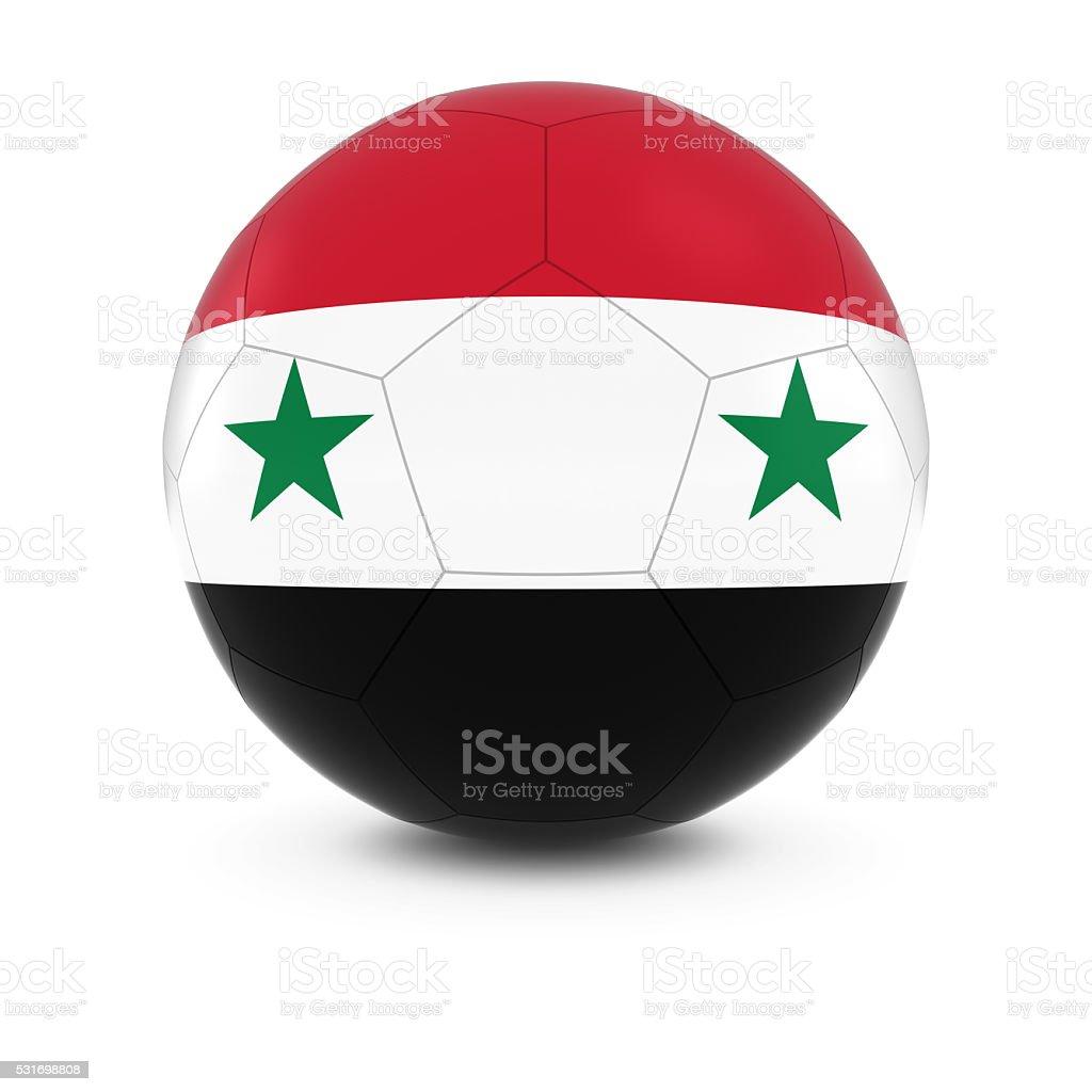 Siria fútbol americano-Siria Bandera sobre una pelota de fútbol - foto de stock