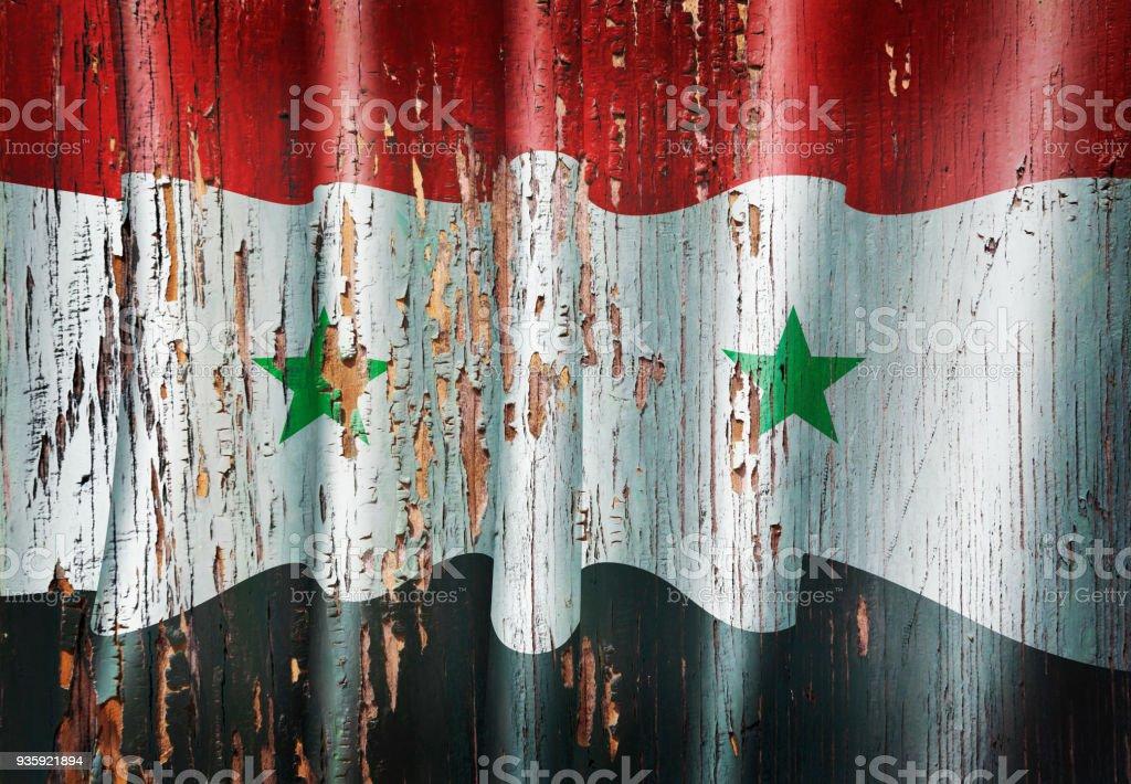 Bandera Siria Siria grunge puerta antigua de madera - foto de stock