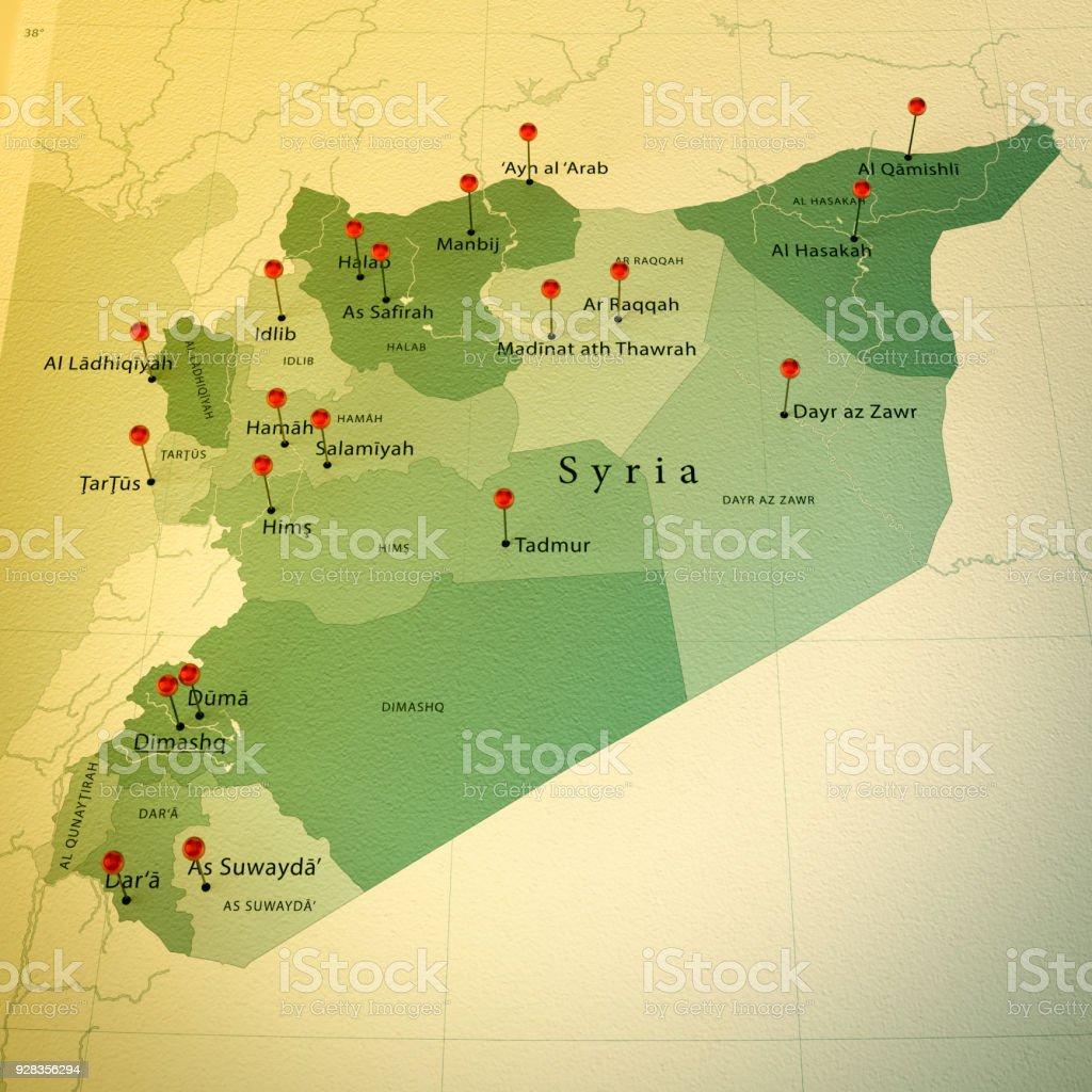 Syrien Karte Mit Städten.Syrien Karte Platz Städte Zylinderstift Vintage Stockfoto Und Mehr