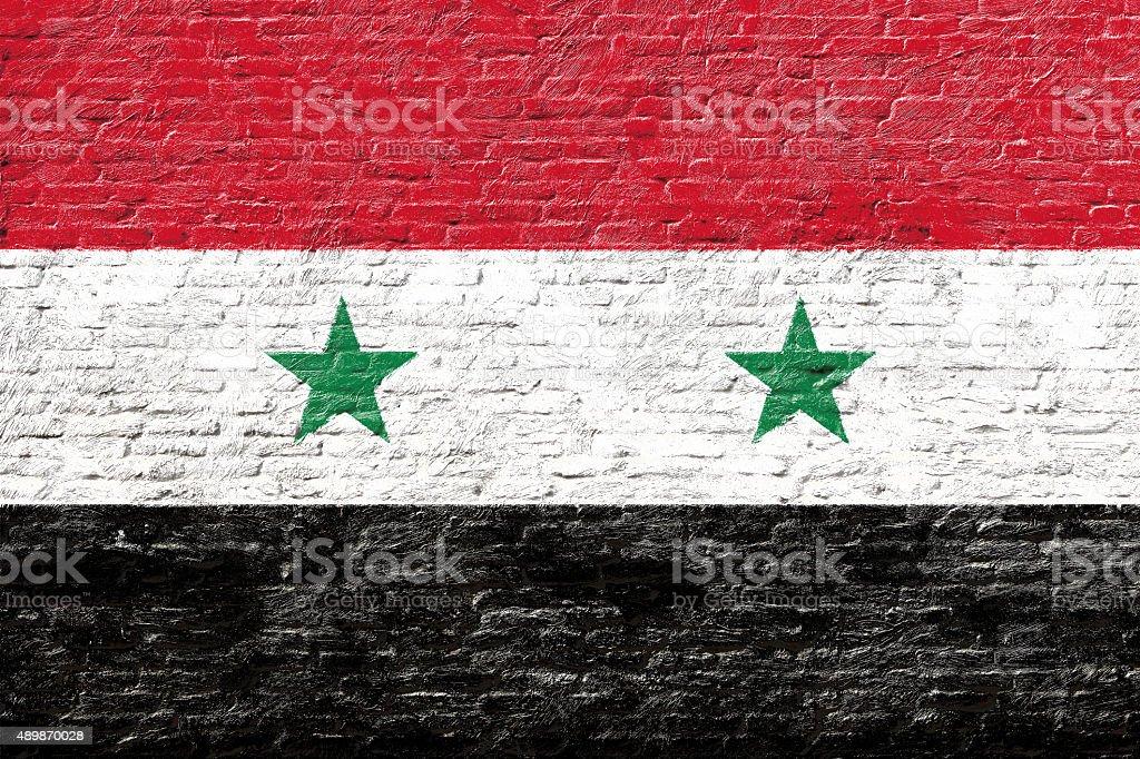 Siria-bandera nacional en pared de ladrillos - foto de stock