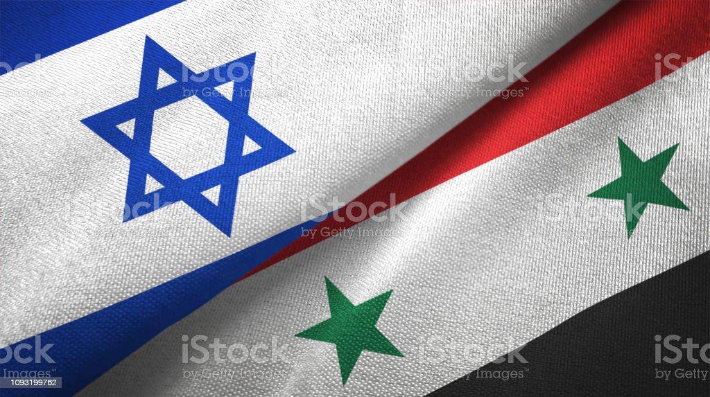 Siria Siria e Israel dos banderas juntas textil tela textura de la tela - foto de stock