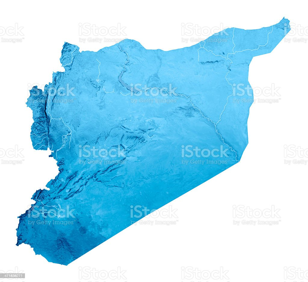 Syria Topographic Map Isolated royalty-free stock photo