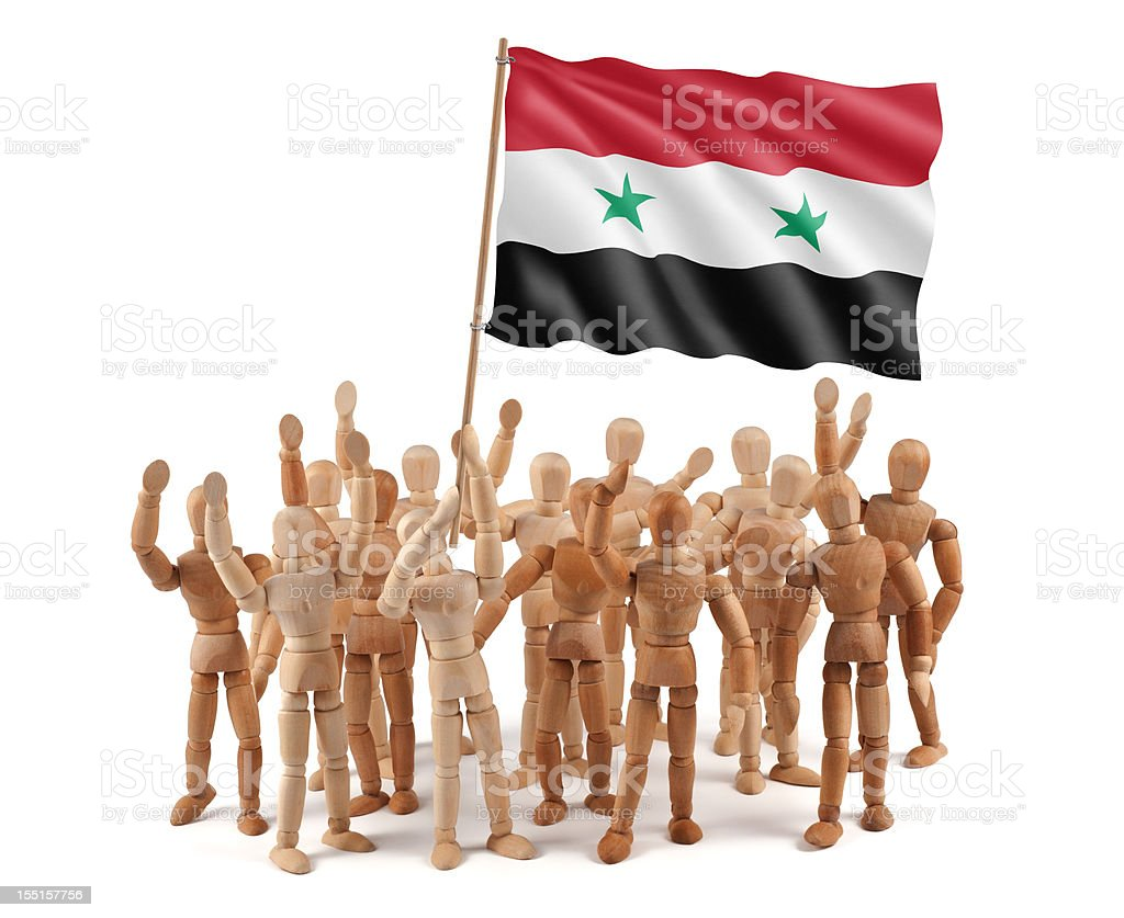 Syria - wooden mannequin group with flag royalty-free stock photo