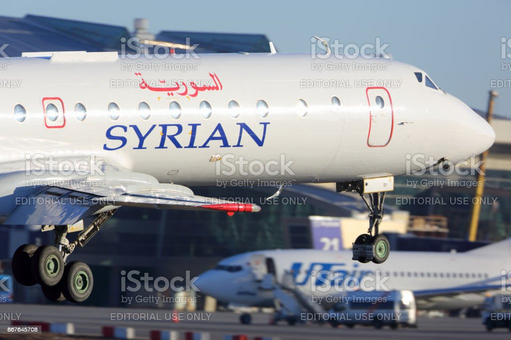 Syrian Air Tupolev Tu-134 landing at Vnukovo international airport. stock photo