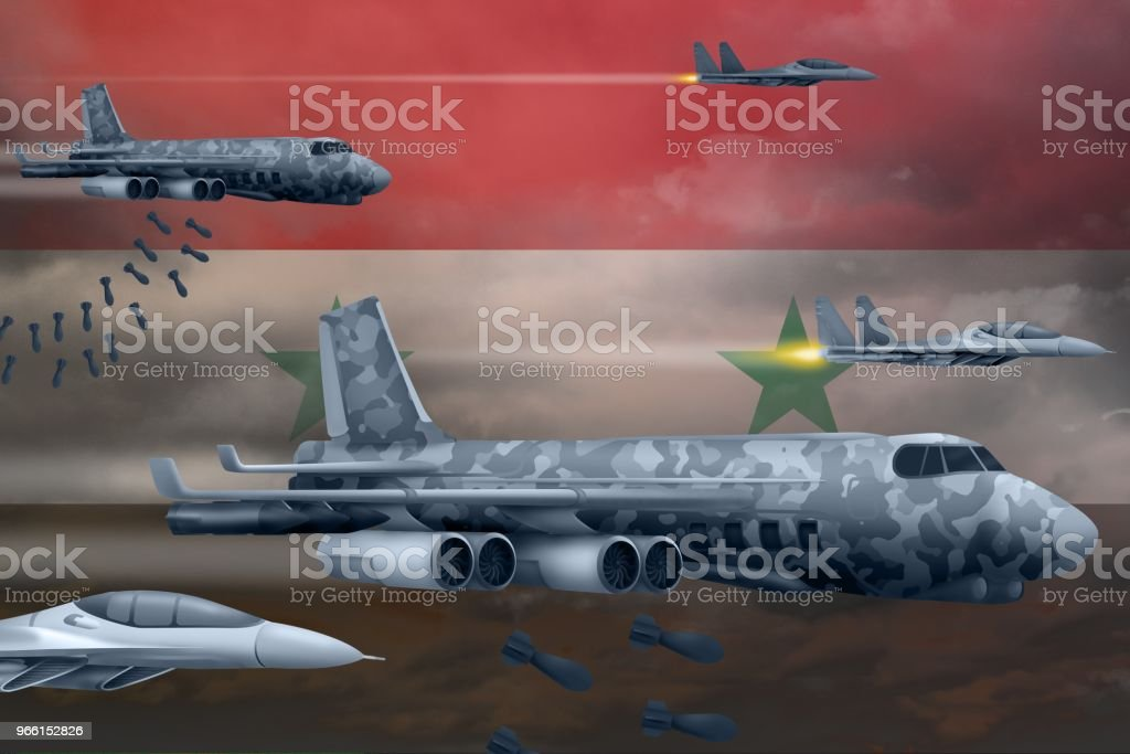 Syrian Arab Republic air forces bombing strike concept. Syrian Arab Republic army air planes drop bombs on flag background. 3d Illustration - Royalty-free Airplane Stock Photo