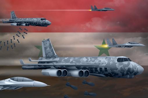 Syrian Arab Republic Air Forces Bombing Strike Concept Syrian Arab Republic Army Air Planes Drop Bombs On Flag Background 3d Illustration - Fotografias de stock e mais imagens de Armamento