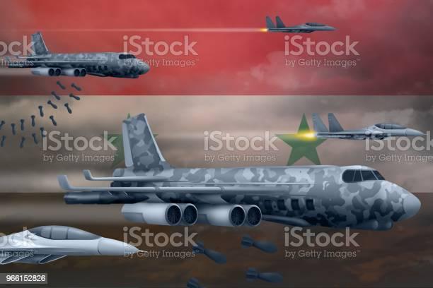 Syrian Arab Republic Air Forces Bombing Strike Concept Syrian Arab Republic Army Air Planes Drop Bombs On Flag Background 3d Illustration — стоковые фотографии и другие картинки Битва