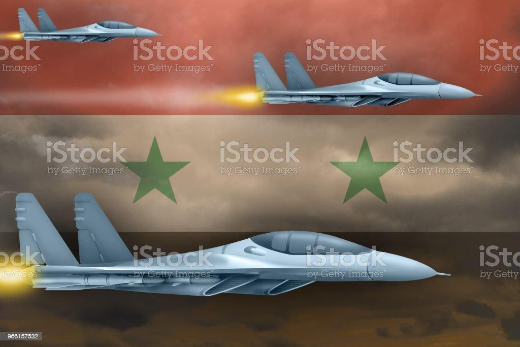 Syriska Arabrepubliken flygvapen strejk koncept. Air hyvlar attack mot Syrien flagga bakgrund. 3D illustration - Royaltyfri Fart Bildbanksbilder