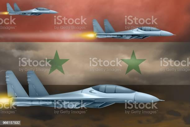 Syriska Arabrepubliken Flygvapen Strejk Koncept Air Hyvlar Attack Mot Syrien Flagga Bakgrund 3d Illustration-foton och fler bilder på Fart