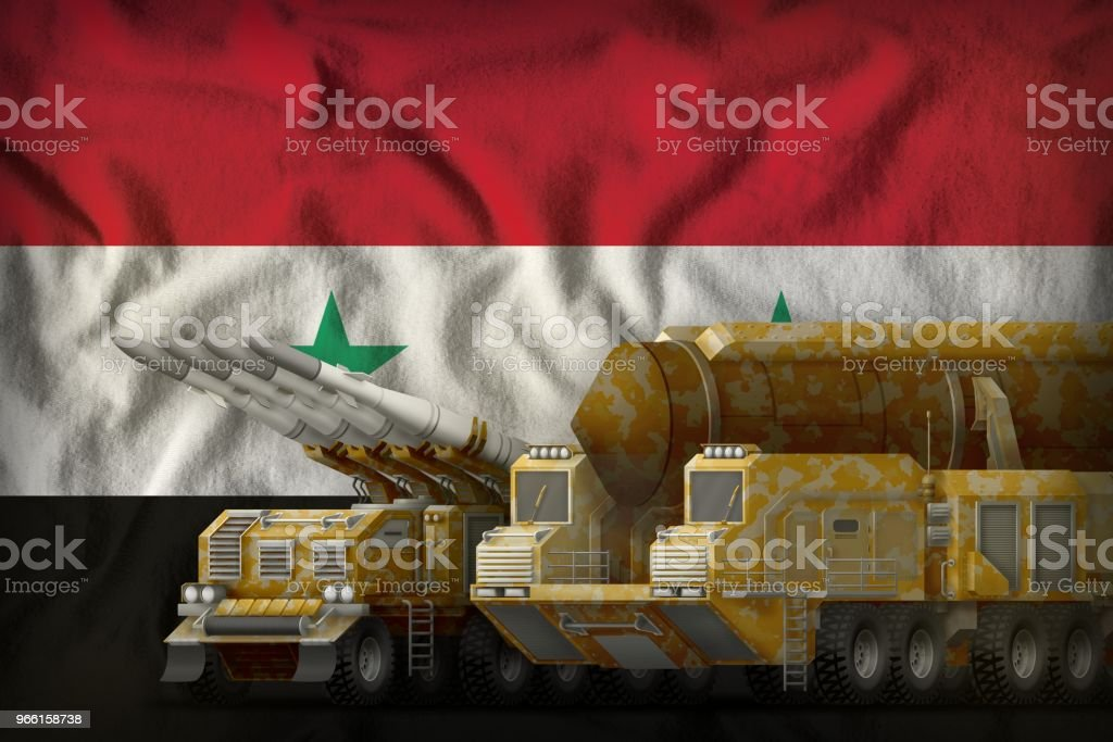 Syrian Arab Republic rocket troops concept on the national flag background. 3d Illustration - Royalty-free Atom Stock Photo