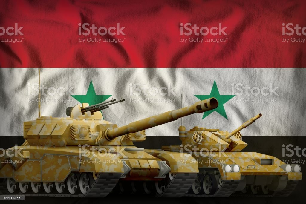 Syrian Arab Republic tank forces concept on the national flag background. 3d Illustration - Royalty-free Army Stock Photo