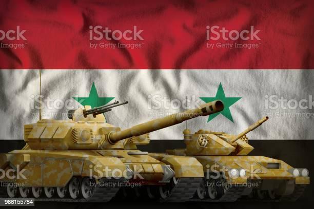 Syriska Arabrepubliken Tank Tvingar Koncept På Flagga Bakgrund 3d Illustration-foton och fler bilder på Armé