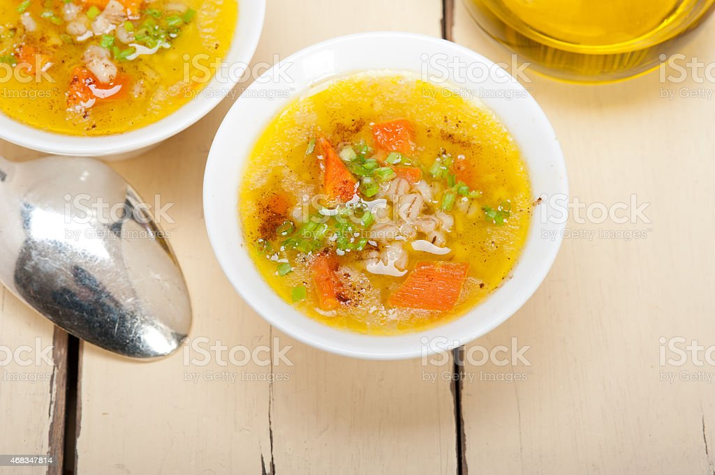 Syrian barley broth soup Aleppo style royalty-free stock photo