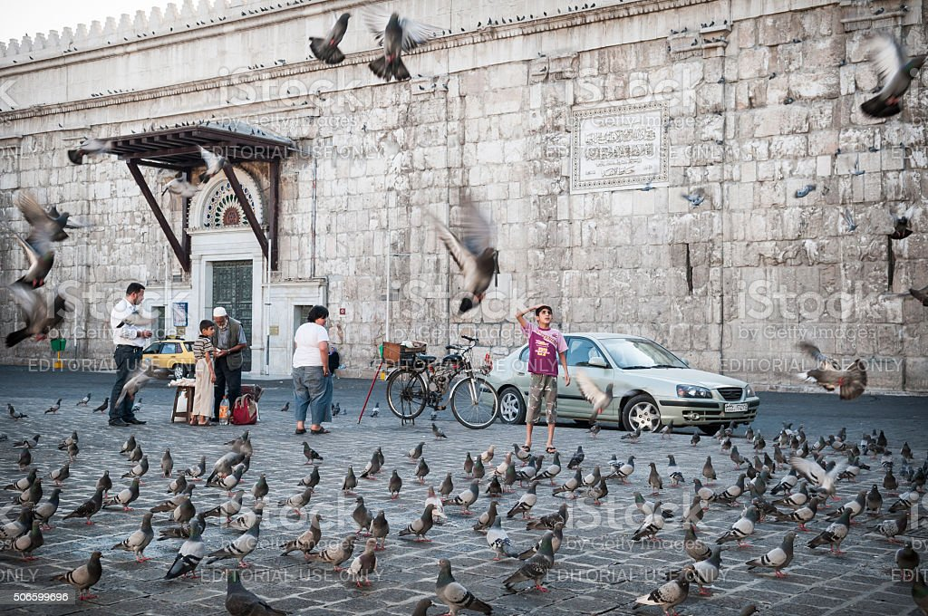Syrian boy and flying pigeons in Damascus, Syria stock photo