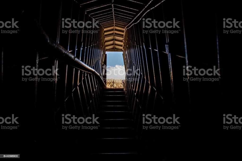 Syrian bunker ,tunnel view , the Israeli - Syrian border, Israel, the Middel east. stock photo