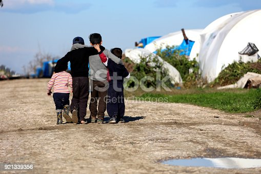 istock Syrian children hugging in the camp 921339356