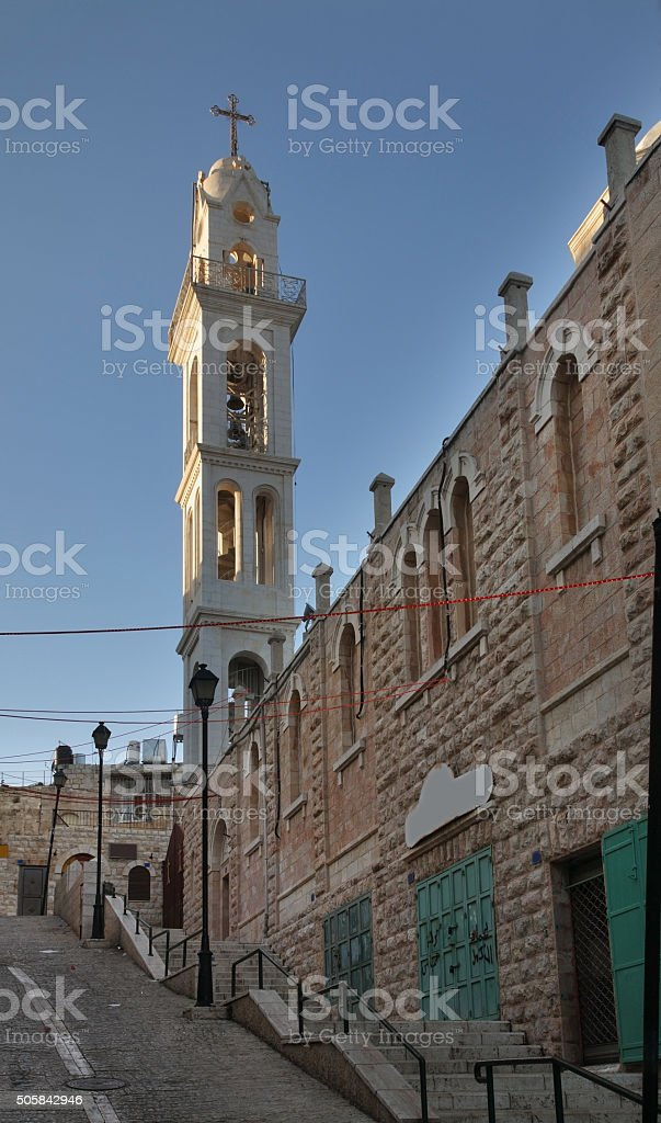 Syrian church of Mother of God in Bethlehem. Palestinian territories. Israel stock photo