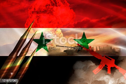 695022520 istock photo Syrian Civil War and Flag 1219707067